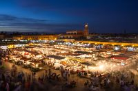 Jamaa el Fna market square at dusk, Marrakesh, Morocco, north Africa.