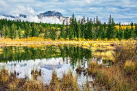 Patricia Lake surrounded by yellow autumn grass