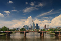 Big clouds over the skyline of Frankfurt