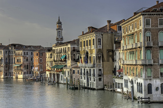 Venetian palaces at the Grand Canal, View from Rialto bridge