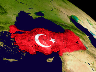 Turkey with flag on Earth