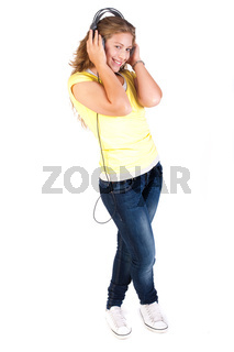 Cheerful caucasian woman listening and enjoying music
