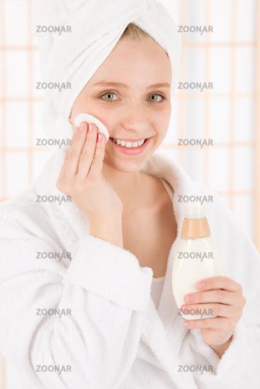 Acne facial care teenager woman clean skin