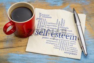 self-esteem word cloud  on napkin