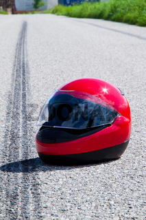 Motorcycle accident. Traffic accident and skid marks