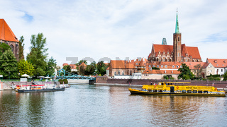 excursion boat in Oder River in Wroclaw city