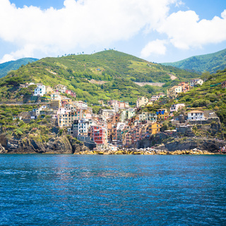 Riomaggiore in Cinque Terre, Italy - Summer 2016 - view from the sea