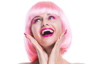 Glamour girl with pink hair