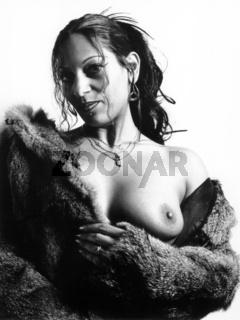 girl in fur coat, analog