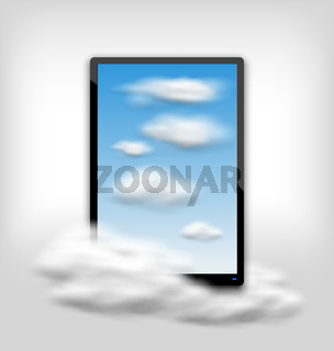 Tablet PC Computer with Clouds and Blue Sky