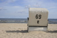 beach chair at the beach of Usedom, Baltic Sea