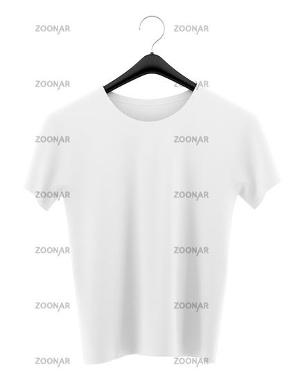 t-shirt on clothing hanger isolated on white background