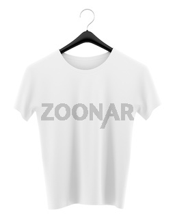 t-shirt on clothing hanger isolated on white background