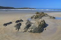 rocky beach at the Atlantic Ocean, France
