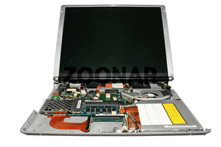 Notebook disassembled. Close-up. Isolated on a white background.