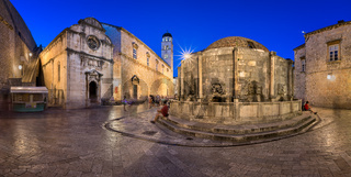 Panorama of Great Onofrio Fountain and Holy Saviour Church in the Evening, Dubrovnik, Dalmatia, Croatia