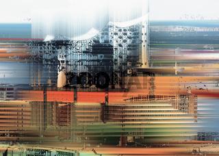 Musikhalle Elbphilharmonie in Hamburg, Deutschland, grafisch abstrakt (digital manipuliert)