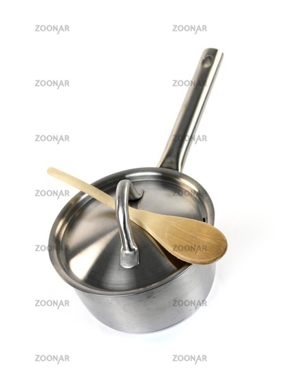 Pots and pans isolayed against a white background