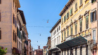 apartment houses on street in Verona city