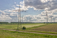 Electricity pylons and wind turbines