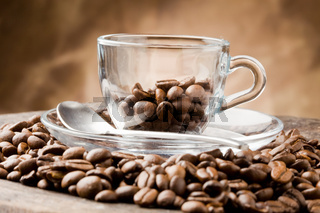 Empty Glass Cup on Coffee Beans