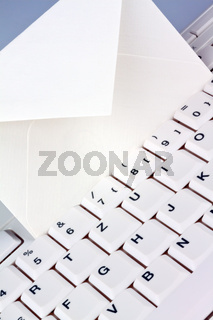 Computer keyboard and envelope. E-mail.