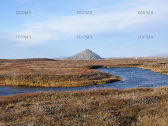 Autumn landscape with Vindbelgjarfjall volcano near lake Myvatn in Iceland