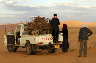 Beduinen beim Holzsammeln in der Sahara