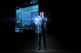 businessman in suit with virtual projection
