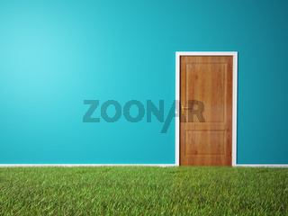 Room with wooden door and a grass covered floor