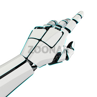 3D rendering robotic hand on a white background