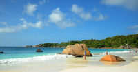 Island of Praslin at Seychelles with famous granite rocks