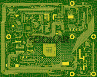 Tech industrial electronic circuit green background