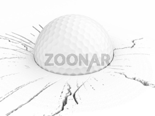 three dimensional golf ball on cracked surface