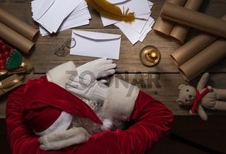 Santa Claus sleeping after hard day