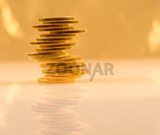 Stack of golden eagle coins