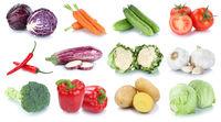 Gemüse Kartoffeln Karotten frische Tomaten Salat Collage Freisteller freigestellt isoliert
