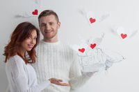 Couple with winged hearts