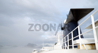 Cruise Ship Sea Ferry Smokestack Cloudy Skies