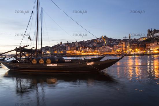 Rabelo boats, port wine boats at night, Rio Douro, Douro River, Porto, Portugal, Europe