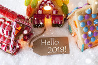 Colorful Gingerbread House, Snowflakes, Text Hello 2018
