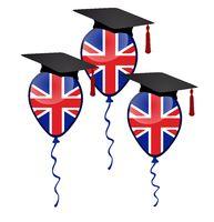 Graduation and three balloons with british flag.jpg