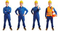 Bauarbeiter im Overall in verschiedenen Posen