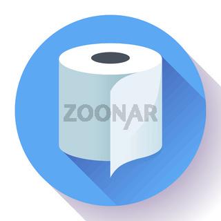 Flat Toilet Paper Icon