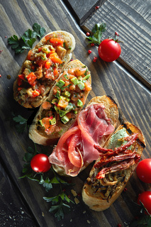 Assorted Italian appetizer bruschetta