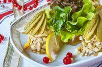 Jellied chicken with mushrooms pickled cucumber lettuce restaurant menu