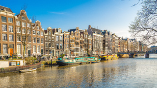 Amsterdam cityscape with the old building in Amsterdam city, Netherlands