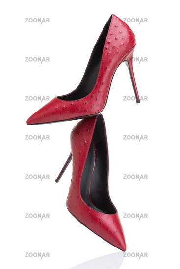 Red high-heeled shoes from exotic ostrich leather