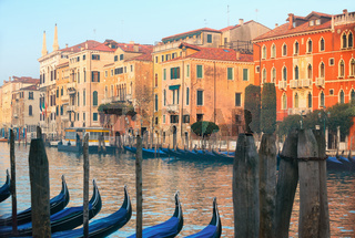 Gondolas parked in Grande Canal on a fine spring day, Venice, Italy