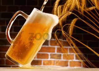 beer in mug, rustic setting from small cellar